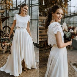 Hot Sell Two Pieces Summer Bohemian Wedding Dresses A Line Lace Top High Low Chiffon Skirt Gardem Boho Bridal Gowns Plus Size