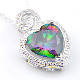 Luckyshine 10 PCS Lot 925 Silver Natural Multi-colored Rainbow Charm Heart Mystic Topaz Gems Silver Vintage Necklace Pendant 2019 NEW