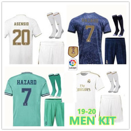 2019 20 Real Madrid soccer jersey kit 19 20 HAZARD BENZEMA SERGIO RAMOS MORATA ISCO ASENSIO home Away football shirt Set sock