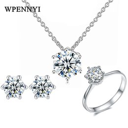 Classic Hearts & Arrows cut Jewelry Set Earrings Necklace Ring Silver Color Clear Cubic Zirconia for Woman Fashion Jewelry Gifts