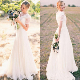 Simple Country Boho Style A Line Wedding Dresses V Neck Short Sleeves Lace Sweep Train Bridal Gowns