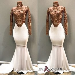 2019 Luxurious Real Images High Neck Long Sleeves Mermaid Prom Gown Long Appliques Beading Party Pageant Dresses Evening Dress Plus Size
