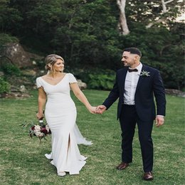 Long Mermiad V-neck Wedding Dresses with Split and Short Sleeves Bohemian Custom Made Country Bridal Gowns
