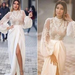 2019 Arabic High Collar Evening Dresses with Lace Applique Illusion Long Sleeves Myriam Fares Side Split Sexy Prom Gowns