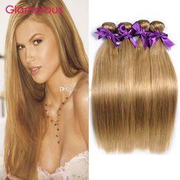 Glamorous #27 Brown Human Hair Bundles 4Pcs Lot Brazilian Peruvian Malaysian Human Hair Weave Body Wave Straight Hair Extensions for women