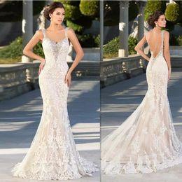 Zuhair Murad 2019 Hot Wedding Dresses Lace Appliques V Neck Bridal Gowns Sexy Backless Sweep Train Mermaid Wedding Dress robe de mariée