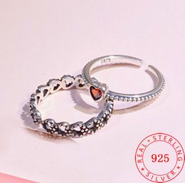fashion thin silver ring Oxidized 925 Sterling silver red hearts design adjustable size rings turkish jewelry