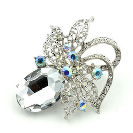 "2"" Vintage Look Rhodium Silver Clear Crystal and Rhinestone Diamante Brooches"