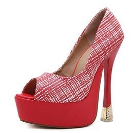 Red Black wedding shoes 16cm super High Heels party shoes Pumps Stilettos heels Platform Peep Toe pumps Ladies dress Shoes women