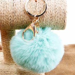 8 cm Rabbit Fur Ball Keychain Soft Fur Ball Lovely Gold Metal Key Chains Ball Pom Poms Plush Keychain Car Keyring Bag Earrings Accessories
