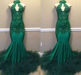 Real Images Green High Neck Keyhole Prom Dress Long With Tulle Ruffles 2019 Elegant Mermaid Lace Appliques Evening Gowns Custom Made