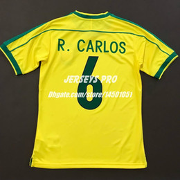 Camisa Brasil Robert Carlos Brazil World Cup 1998 Retro Soccer jersey home yellow Football shirts kit Sportswear