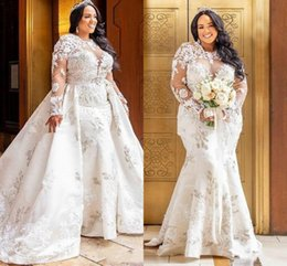 Beautiful Plus Size African Mermaid Lace Wedding Dresses With Detachable Skirt Long Sleeve Country Vestido de novia Bride Dress Bridal Gown
