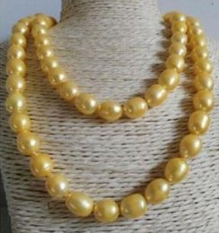 Single Strands 12-13mm Baroque Gold Pearl Necklace 38 Inch Beaded Necklaces 14K Gold Clasp
