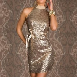 Gold Sexy Sequins Clubwear Fascinating Black Party Dresses Charming Women Turtleneck Backless Sparkling Halter Sleeveless Night Club Dress
