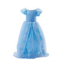 2019 Cinderella Girls Cosplay Dress Kids Summer Short short Sleeve Lace long dress children girl best gift A024