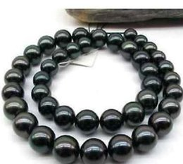 11-12mm Round Black Natural Pearl Necklace 18 Inch Beaded Necklaces 14k Gold Clasp