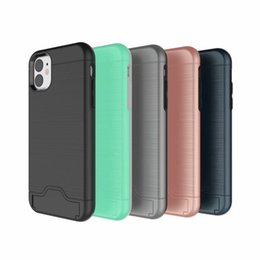 Brushed Holder Hard PC+Soft TPU Case For Iphone 11 2019 XR XS MAX X 8 7 6 Samsung S10 S9 S8 Card Slot ID Box Shockproof Hybrid 2 in 1 Cover