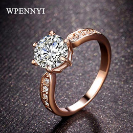 Rose Gold Color Classic 6 Prong Shiny 1.5ct Clear Cubic Zirconia Wedding Woman Engagement Finger Ring Christmas Gifts