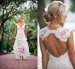 Cheap Vintage Full Lace Plus Size Wedding Dresses Country Style Deep V-neck Keyhole Back Wedding Dress Bridal Gowns robe de mariée BO7557
