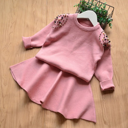 Retail girls boutique outfits 2pcs skirt sets Korean long sleeve pearl beaded knitted pullover sweater+short skirt kids outfits clothes sets