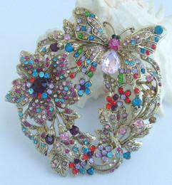 "3.54"" Flower Butterfly Brooch Pin w Multicolor Rhinestone Crystals EE04489C9"