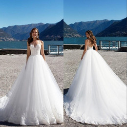 2019 Sexy Beach Plus Size Wedding Dresse Lace Sweetheart Backless Sleeveless Open Back Wedding Gown Vintage Bridal Gowns