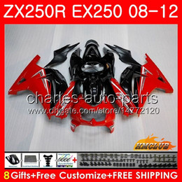 Body For KAWASAKI NINJA ZX-250R EX-250 ZX250R 08 09 10 11 12 13HC.9 ZX 250R EX 250 EX250 2008 2009 2010 2011 2012 Fairing kit red black hot