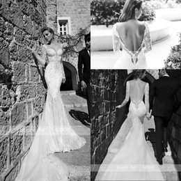 Sexy Backless Chapel Train V Neck Mermaid Wedding Dress 2020 Lace Pearl Beading Long Sleeve Vestige De Noiva Bride Dress