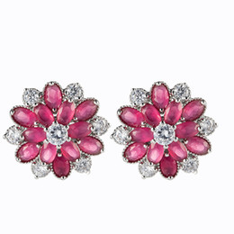 LuckyShine Trendy Women Ear clip colorful Cubic Zirconia Cz Flower 4 Color 925 sterling Silver plated Earrings 3 Pair Lot Free Shipping