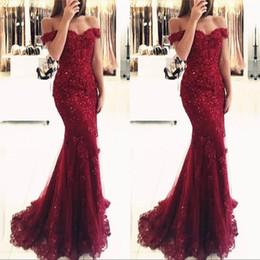 Burgundy Lace Mermaid Appliques Off Shoulder Prom Dresses Vestido De Festa Beaded Sequins Long Evening Gowns
