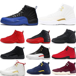 Mens 12s basketball shoes Game Royal Winterize Gym Red Michigan Bordeaux 12 The Master Flu Game Taxi sports sneaker trainers size 7-13