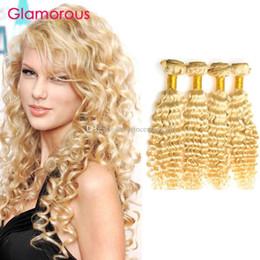 Glamorous Peruvian Indian Malaysian Brazilian Russian Human Hair Weaves 4 Bundles Blonde Deep Wave Human Hair Extensions for black women