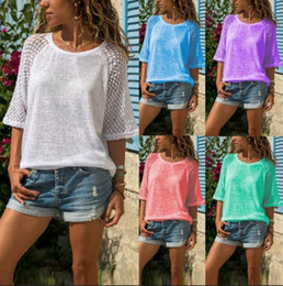 2019 Summer women T Shirt Women Top Lace Stitching O-Neck Cropped Sleeves Casual Tshirt Women Tops Tee Shirt Femme Camiseta Mujer Plus Size
