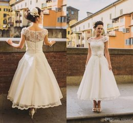 2019 Lace Beaded Charming Wedding Dresses Illusion Neck Cap Sleeves Bridal Gowns Ankle Length Cheap Plus Size Wedding Party Dresses A Line