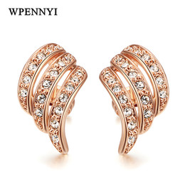 Romantic Angel Wings Design Rose Gold Color Clear Zirconia Inlays Classic Woman Earrings Wholesale Fashion Gifts Drop Ship