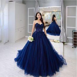 Vestido de festa longo vintage blue Lace Sleeveless Ball Gown Prom Dresses Applique Beading Sweetheart Custom Made Evening Dress
