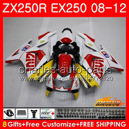 Body For KAWASAKI NINJA ZX-250R EX-250 ZX250R 08 09 10 11 12 13HC.79 ZX 250R EX 250 EX250 2008 2009 2010 2011 2012 Fairing kit white red hot