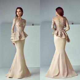 Cheap Arabic Champagne Lace Stain Long Evening Dresses 2019 Jewel Sheer Neck Long Sleeve Dubai Mermaid Prom Dress Robe De Soiree