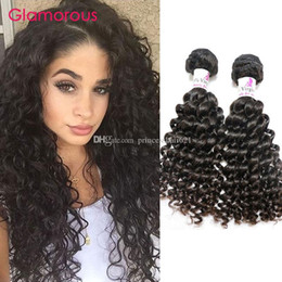 Glamorous Human Hair Product 2 Bundles Unprocessed Peruvian Indian Malaysian Brazilian Hair Weft Deep Wave Curly Hair Extensions Free Ship