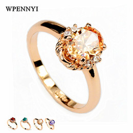 Top Quality Champagne Zirconia Crystal Erstwhile Memory Delicate Women Finger Rings Wholesale Birthday Gifts 4 Colors