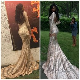Rose Gold Sequined African Prom Dresses 2K19 Hot Sell Long Sleeves V Neck Backless Sexy Mermaid Evening Dress Arabic Formal Wear Gowns