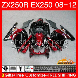 Body For KAWASAKI NINJA ZX-250R EX-250 ZX250R 08 09 10 11 12 13HC.55 ZX 250R EX 250 EX250 dark red blk 2008 2009 2010 2011 2012 Fairing kit
