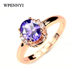 Top Quality Purple Zirconia Crystal Erstwhile Memory Delicate Women Finger Rings Wholesale Fashion Accessory