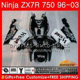 Bodys For KAWASAKI NINJA black west top ZX 7 R ZX 750 ZX750 ZX 7R ZX-750 28HC.13 ZX-7R ZX7R 1996 1997 1998 1999 2000 2001 2002 2003 Fairing