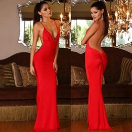 Sexy Deep V Neck Red Sheath Prom Dresses Spaghetti Open Back Evening Dresses Custom Made Long Party Gown BC1029