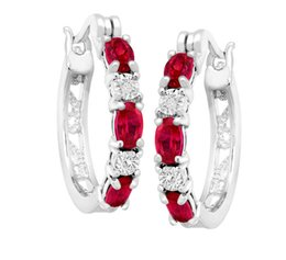 Luckyshine 10Pair 925 Silver Charms Red Ruby Round Antique Earrings For Women White Topaz Zircon Fashion Delicate Earrings