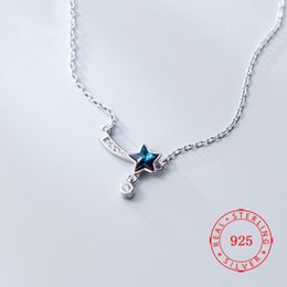 high quality fashion blue color crystals star necklace pendant jewelry designs Trendy blue zircon necklace cheap necklaces to sell