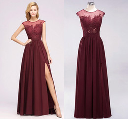 Cheap Burgundy Lace Appliqued Bridesmaid Dresses Vintage Chiffon Side High Split Wedding Guest Gown Formal Party Prom Evening Dresses BM0146