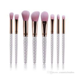 Mybasy 8pcs Makeup Brushes Set Nylon Foundation Powder Face Eye Blush Blending Pearl Color Metal Cosmetic Makeup Brushes Set